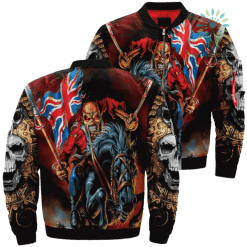 familyloves.com Skull Warrior Riding Horse Over Print Jacket %tag