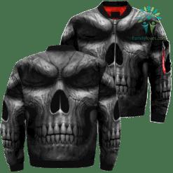 Black Silhouette Skull Over Print Jacket %tag familyloves.com