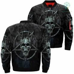 familyloves.com Skull Pentagram Over Print Jacket %tag