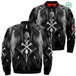 Angel Skull Over Print Jacket %tag familyloves.com
