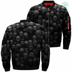 Many Skulls Die Over Print Jacket %tag familyloves.com