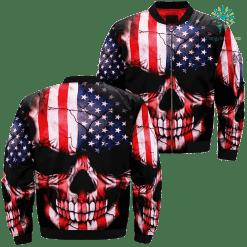 familyloves.com Skull Flag American Over Print Jacket %tag