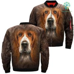 Basset Hound over print jacket %tag familyloves.com