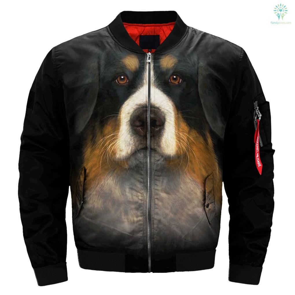 Bernese Mountain Dog over print jacket %tag familyloves.com