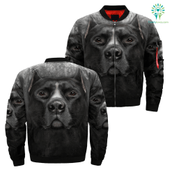 Black Pitbull over print jacket payment shipping %tag familyloves.com