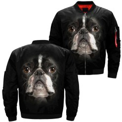 Boston Terrier over print jacket %tag familyloves.com