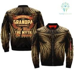 CHEROKEE GRANDPA - THE MEN THE MYTH - THE LEGEND over print bomber jacket %tag familyloves.com