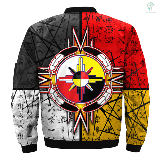 circle of courage native american OVER PRINT BOMBER JACKET payment shipping %tag familyloves.com