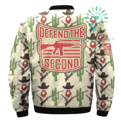 familyloves.com DEFEND THE SECOND over print Bomber jacket %tag