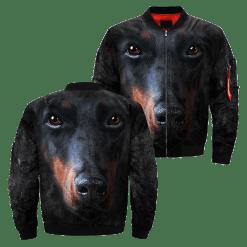 familyloves.com Doberman Pinscher over print jacket %tag