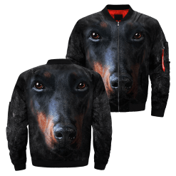Doberman Pinscher over print jacket %tag familyloves.com
