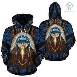 familyloves.com Eagleskull American Native Over Print Hoodie %tag