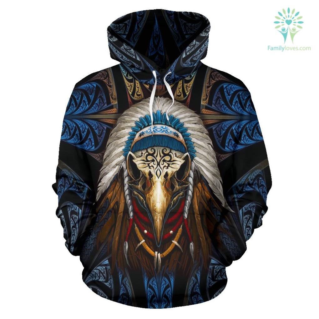 Eagleskull American Native Over Print Hoodie %tag familyloves.com