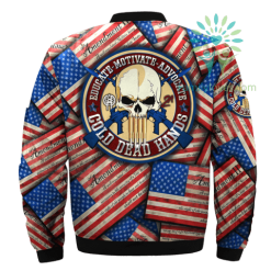 familyloves.com EDUCATE-MOTIVATE-ADVOCATE-COLD DEAD HANDS over print Bomber jacket %tag