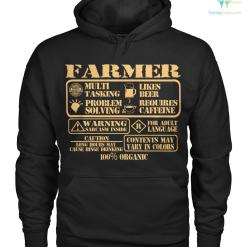 familyloves.com farmer multi tasking, likes beer, problem solving, requires caffeine, warning sarcasm inside, for adult language, caution long hours may cause binge drinking, contents may vary in colors 100% organic Hoodie/Tshirt %tag
