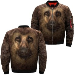 German Shepherd over print jacket %tag familyloves.com