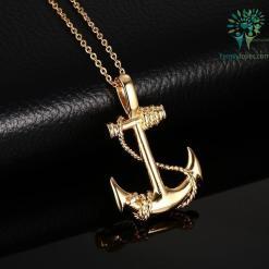Gold-Color Anchor Pendant Necklaces %tag familyloves.com