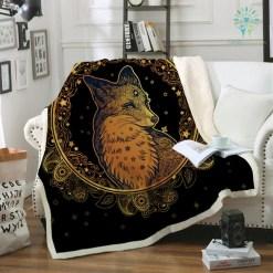 Golden Fox Sherpa Fleece Blanket Animal Stars Bedspread Paisley Leaves Flower Velvet Plush Bed Blanket 150x200 130x150 %tag familyloves.com