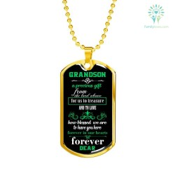familyloves.com Grandson a precious gift from the lord above... Dog Tag-Luxury Add Engraving Necklace Military Chain (Gold) Military Chain (Silver) %tag