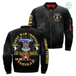 familyloves.com GULF WAR COMBAT 2nd BN, 327th infantry 101st airborne division over print Bomber jacket %tag