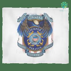 familyloves.com HONOR RESPECT DEVOTION SEMPER PARATUS UNITED STATES COAST GUARD Fleece Blanket %tag