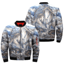 horse art american indian over print bomber jacket %tag familyloves.com