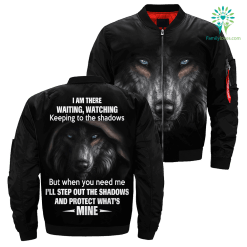 familyloves.com I Am There Waiting, Watching Keeping To The Shaodows... over print bomber jacket %tag