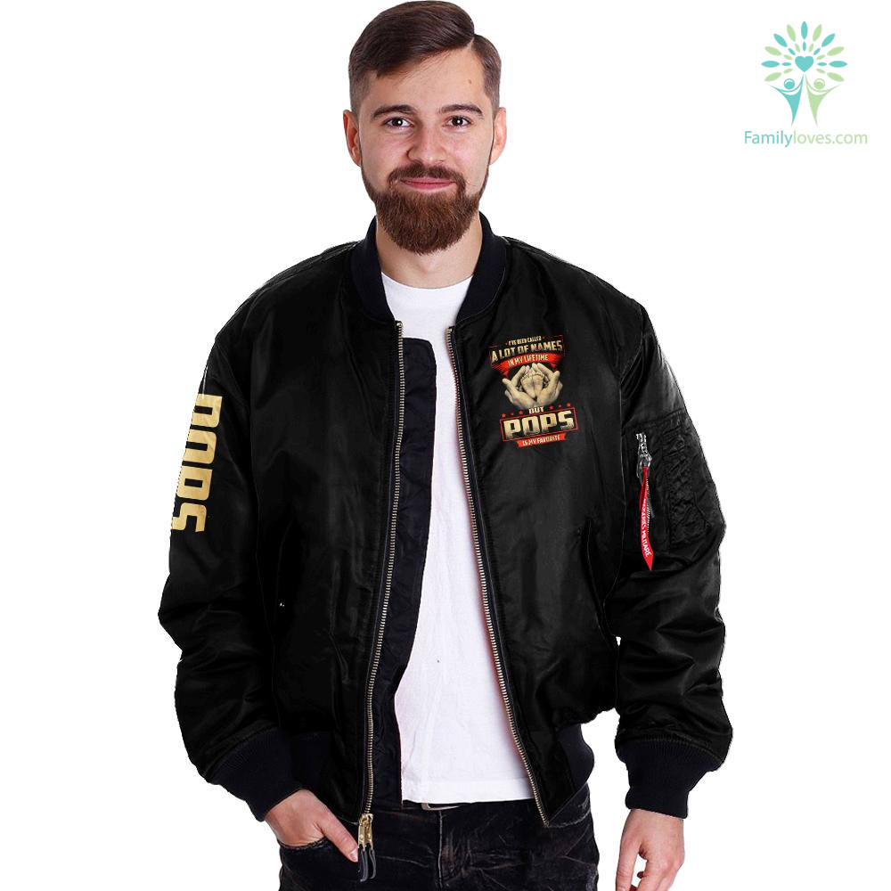 I've been called a lot of names in my lifetime but pops is my favorite over print bomber jacket %tag familyloves.com