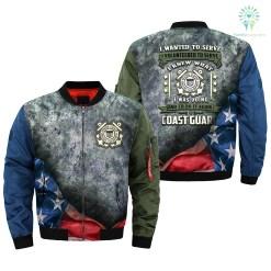 familyloves.com i wanted to serve, i volunteered to serve, i knew what i was doing, U.S Coast Guard over print Bomber jacket %tag