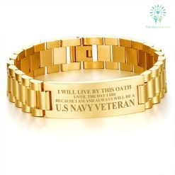 familyloves.com I will live by this oath until the day I die because I am and always will be a u.s navy veteran men's bracelets Default Title %tag