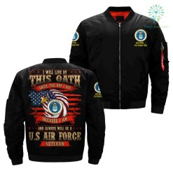 familyloves.com i will live by this oath until the day i die because i am and always will be u.s air force veteran over print jacket %tag