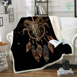 familyloves.com Indian Skull Plush Fleece Blanket Dreamcatcher Exotic Home Textiles Sherpa Fleece Beds Blanket Tribal Bedding %tag