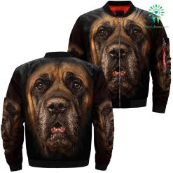 familyloves.com Mastiff Dog over print jacket %tag