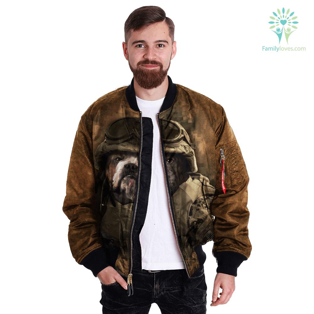 Military Bulldog over print jacket %tag familyloves.com
