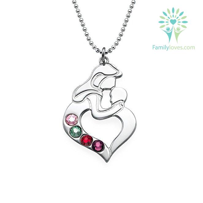 familyloves.com Mom Kissing Baby Necklace %tag