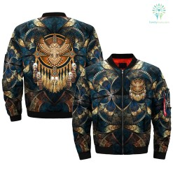 Native American Beadwork Owl Mandala OVER PRINT BOMBER JACKET %tag familyloves.com