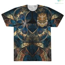 familyloves.com Native American Beadwork Owl Mandala Over Print T-Shirt %tag