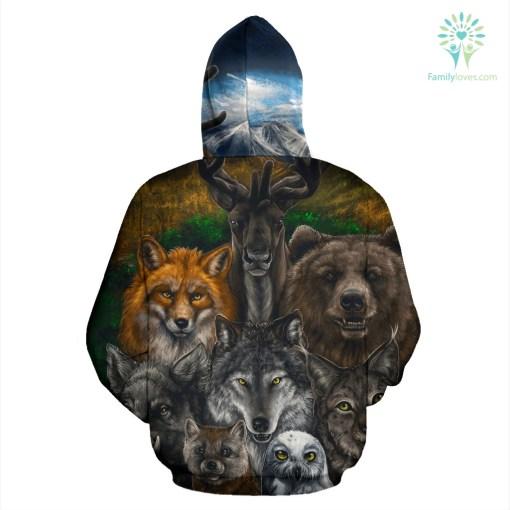 Native American - Bear Wolf Owl Fox 3D All Over Hoodie %tag familyloves.com