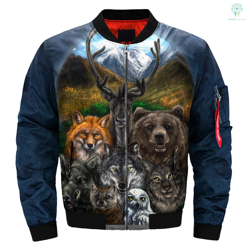familyloves.com Native American Clothing - Bear Wolf Owl Fox 3D OVER PRINT BOMBER JACKET %tag