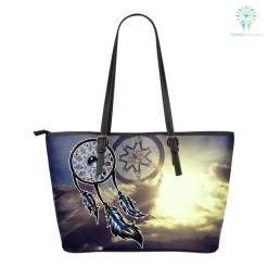 familyloves.com Native American Couple Dreamcatcher Small Leather Bags %tag