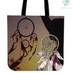 Native American Couple Dreamcatcher Tote Bags %tag familyloves.com