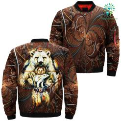 The Native American Dreamcatcher From The Mountain With A Spirit Bear Over Print Bomber Jacket %tag familyloves.com