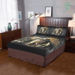 NATIVE AMERICAN INDIAN EAGLE WOLF SPIRIT ANIMALS 3-Piece Bedding Set 1 Duvet Cover 2 Pillowcases %tag familyloves.com