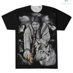 familyloves.com Native American Peace Pipe Men's Over Print T-Shirt %tag