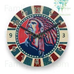 familyloves.com Native American Skull Wall Clock %tag