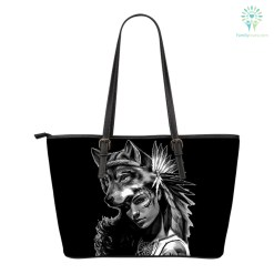 familyloves.com Native American Wolf Woman Small Leather Bags %tag