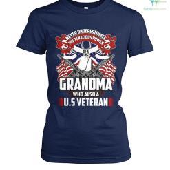 familyloves.com Never underestimate the tenacious power of a grandma who also a U.S veteran? t-shirt %tag
