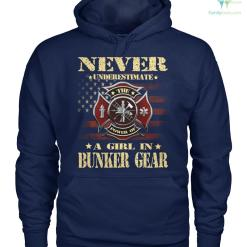 familyloves.com Never underestimate the power of a girl in bunker gear women t-shirt, hoodie %tag