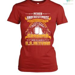 familyloves.com Never underestimate the tenacious power of a grandma who is also a u.s.veteran? women t-shirt %tag