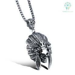 New Native American Style Necklace skull men %tag familyloves.com